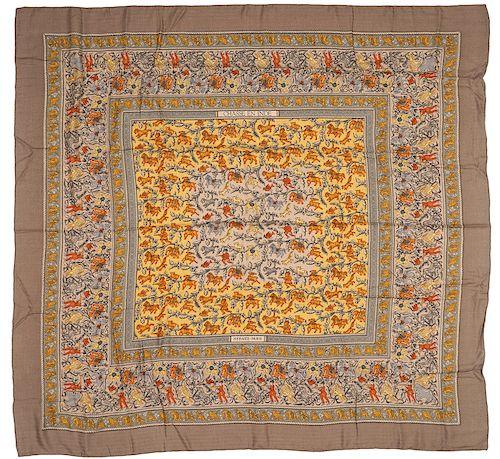 Hermes Chasse En Inde Cashmere Silk Shawl 140cm