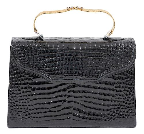 Crocodile Bag 18k Gold Sapphire Bracelet Strap