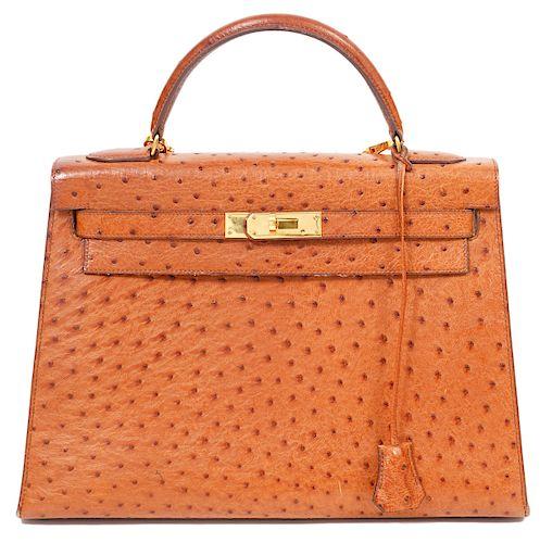 Hermes Kelly 32 Ostrich Handbag Gold Hardware 1988