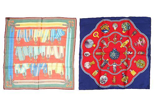 2 Hermes Silk & Chiffon Scarves 42cm