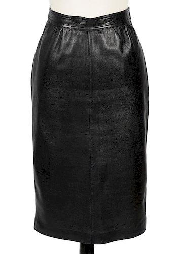 Loewe Black Lambskin Leather Skirt Size 38