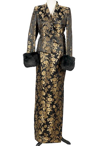 Escada Couture Black Gold Brocade Skirt Suit