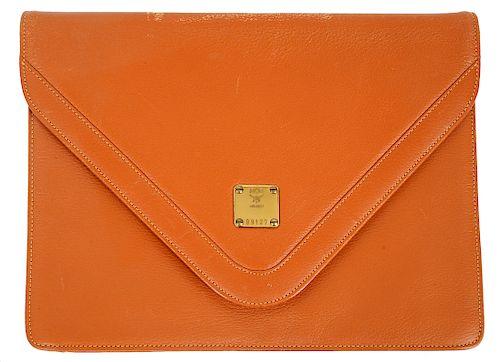 MCM Leather Envelope Burnt Orange Bag