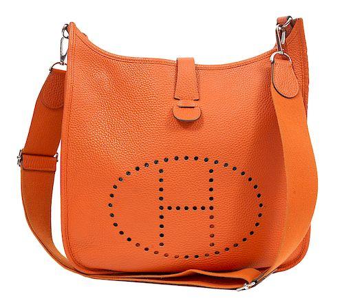 Hermes Orange Clemence Evelyne III GM