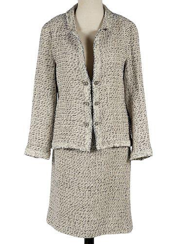 Chanel Beige, Tan & Black Tweed Skirt Suit Size 44