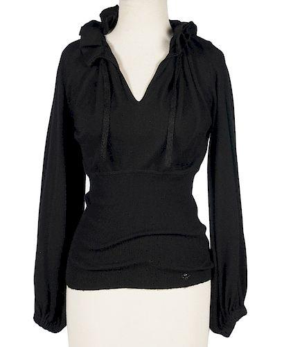 Chanel Black Cashmere Ruffled Neck Sweater Sz 38