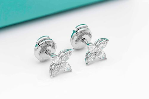 Tiffany & Co 0.74ct Diamond Platinum Earrings