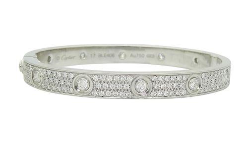 Cartier 18K Gold Love 3.16tcw Diamond Paved Bracelet