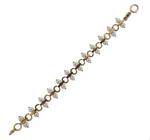 Tiffany & Co Retro 14K Gold Pearl Bracelet
