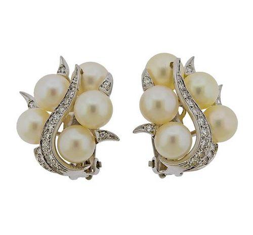 Mid Century 14K Gold Diamond Pearl Earrings
