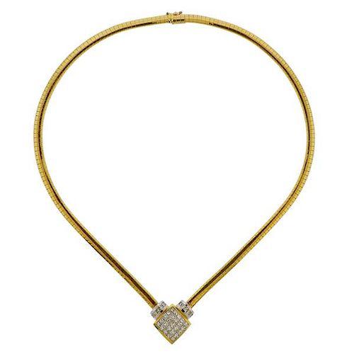 18K Gold Diamond Pendant Necklace