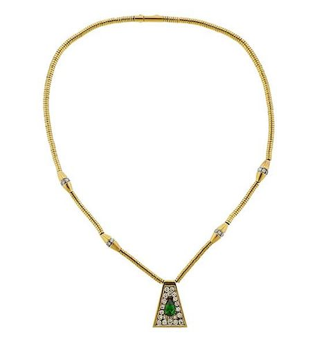 14K Gold Diamond Green Stone Pendant Necklace