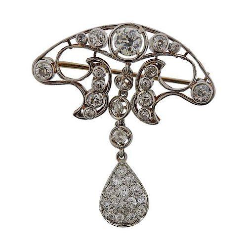 Antique Platinum 14k Gold Diamond Brooch Pin
