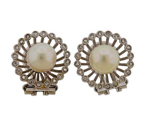 18K Gold Diamond Pearl Earrings