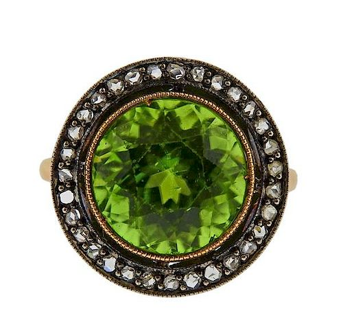 18K Gold Silver Diamond Green Stone Ring