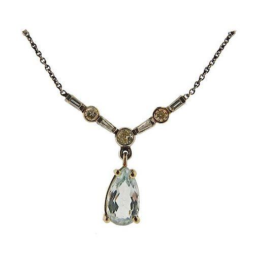 Platinum Diamond Aquamarine Necklace