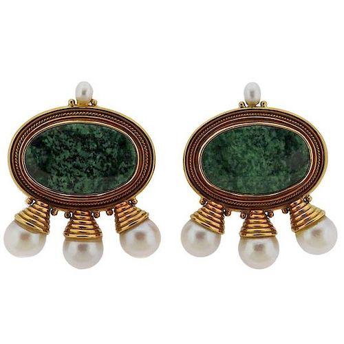 Elizabeth Gage Pearl Green Gemstone 18k Gold Earrings
