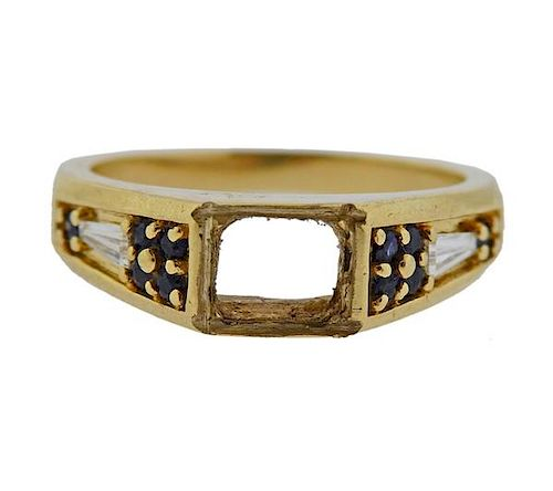 14K Gold Diamond Sapphire Ring Mounting