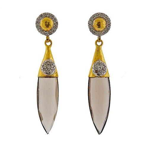 Gurhan  Splash 24k 18k Gold Quartz Diamond Earrings