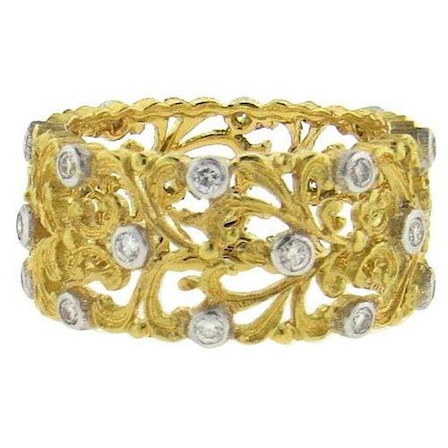 Buccellati Diamond 18k Gold Wedding Band Ring