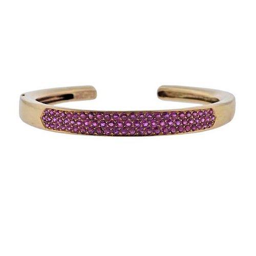 Van Cleef & Arpels Pink Sapphire 18k Gold Cuff Bracelet
