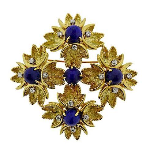Tiffany & Co 18K Gold Diamond Lapis Pendant Brooch Pin