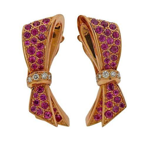 Van Cleef & Arpels Sapphire Diamond 18k Gold Bow Earrings