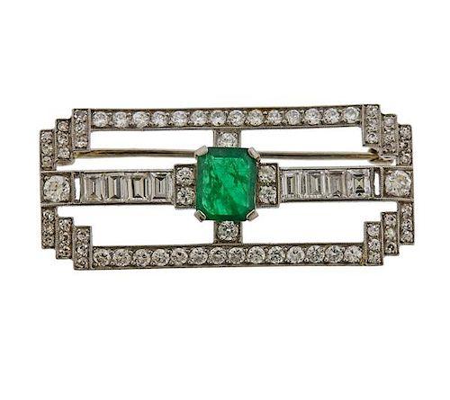 J. E. Caldwell Platinum Diamond Emerald Brooch