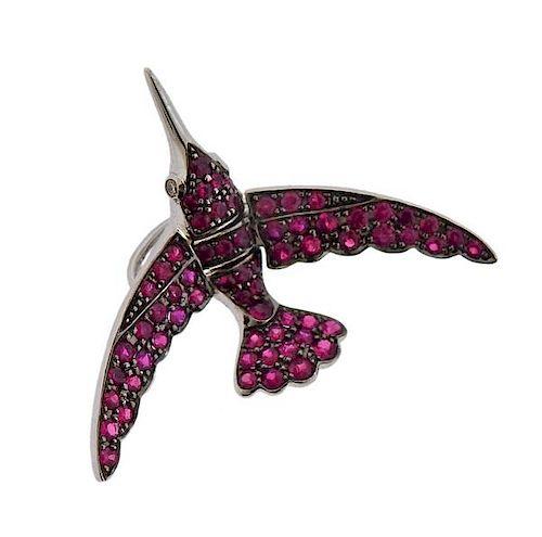 18k Gold Ruby Bird Pendant