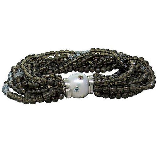 Trianon Pearl Topaz Aquamarine Diamond 18k Gold Bracelet