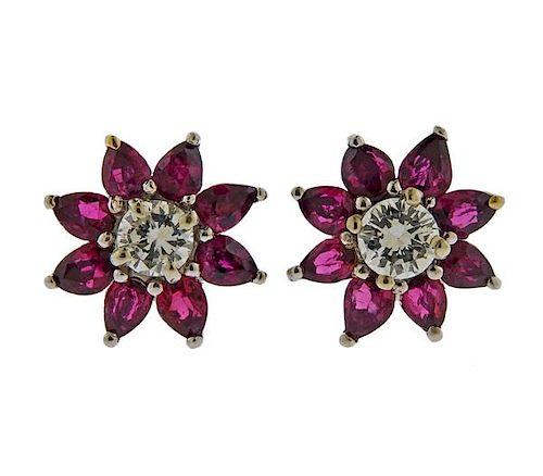 Tiffany & Co Platinum Diamond Ruby Earrings