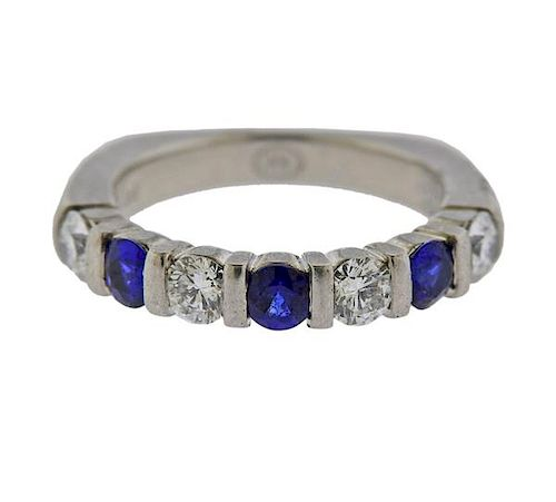 Platinum Diamond Sapphire Half Band Ring