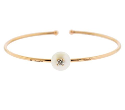 Chantecler 18K Gold Diamond Pearl Cuff Bracelet