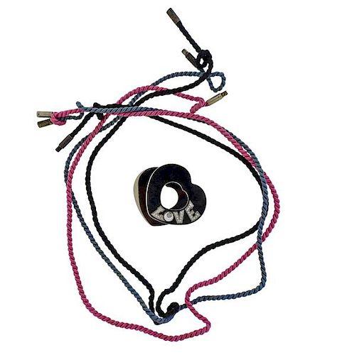 Chopard Happy Diamond Stainless Steel Silk Cord Pendant