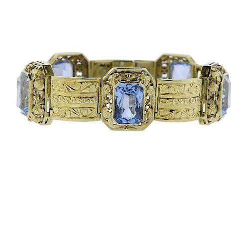 14K Gold Blue Stone Bracelet