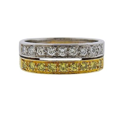 18K  Gold White Yellow Diamond Ring