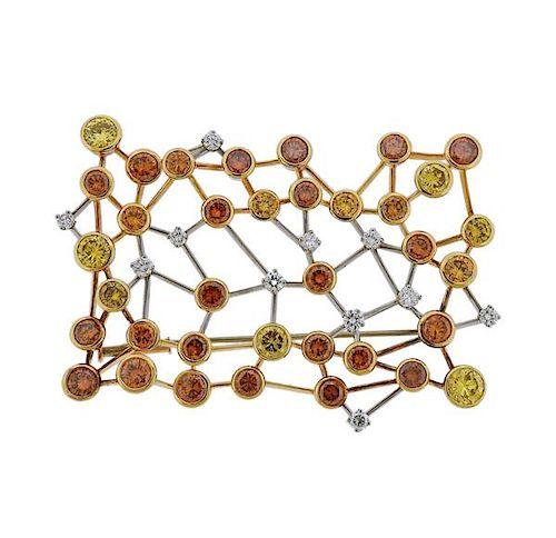 18K  Gold 13ctw Fancy Diamond Pin Brooch