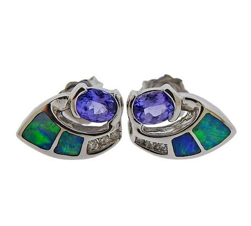 14K Gold Diamond Iolite Opal Stud Earrings