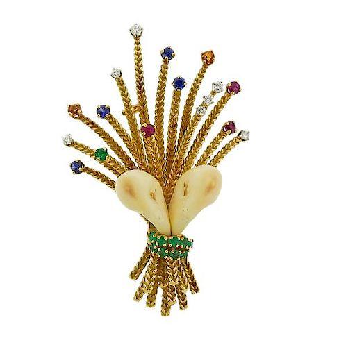 Gubelin 18K Gold Diamond Elk's Tooth Emerald Sapphire Ruby  Brooch