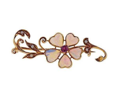 Antique Victorian 18K Gold Opal Pearl Brooch Pin