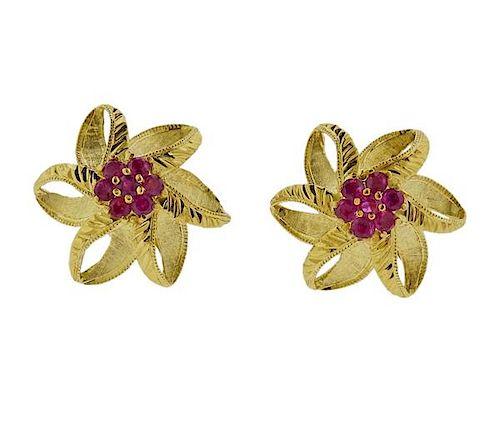 14K Gold Ruby Flower Earrings