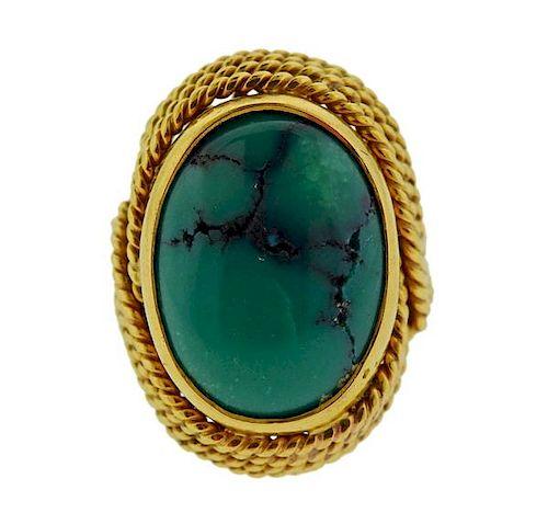 18K Gold Turquoise Ring