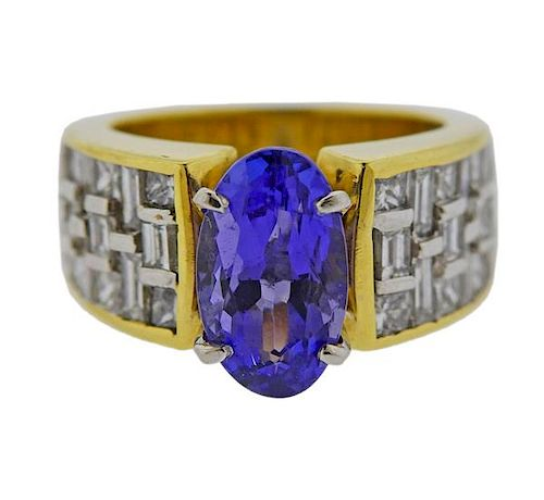 JB Star 18K Gold Platinum Diamond 3.44ct Tanzanite Ring