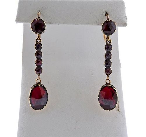 Antique Victorian 18K Gold Red Stone Earrings