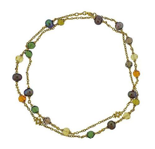 Judith Ripka 18k Gold Pearl Diamond Gemstone Necklace