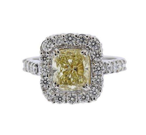 GIA 3ct Natural Yellow Diamond Gold Engagement Ring