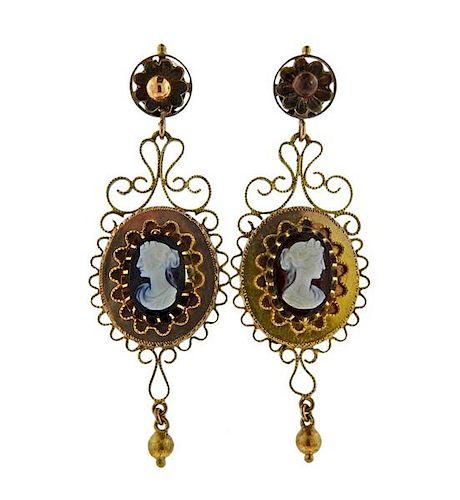 Antique 14K Gold Cameo Drop Earrings