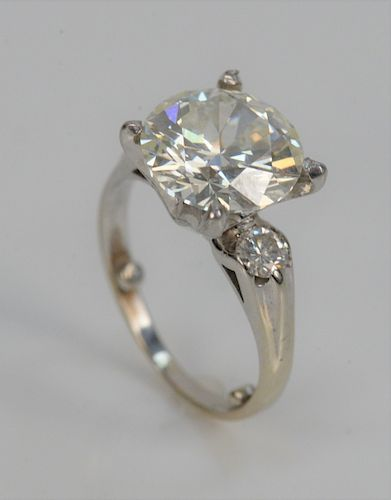 Platinum and Diamond Ring Set, with 3.83 carat center diamond flanked by small diamond on either side, with GIA cert #