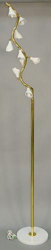 Gino Sarfatti (1912-1985) Arteluce Floor Lamp, model 1034, Italy 1946 - 1951, brass with nine enameled aluminum shades on marble base, signed with imp