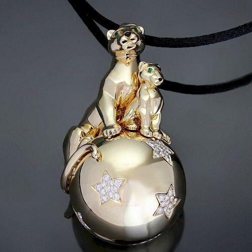 CARTIER Panthere Sm Lg Panthers Balloon Diamond 18k Yellow Gold Pendant Necklace